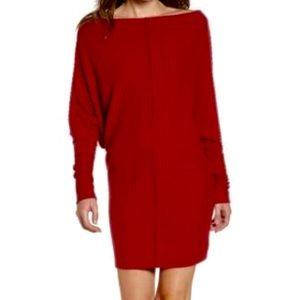 NWT Slouchy Shoulder Cranberry Red Rib Knit dress